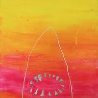 Malibuhai   40 x 50 cm   akryyli, glitterteippi ja silikoni kankaalle