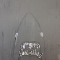 Hurjat hampaat, mutta itkuinen silmä   40 x 50 cm   akryyli, glitter ja metalliteippi kankaalle